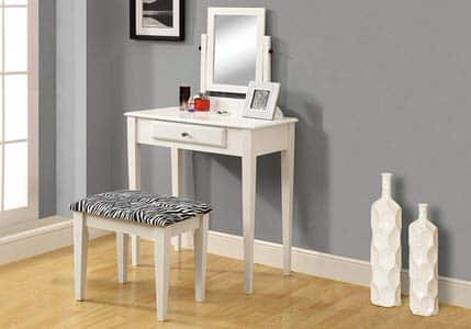 9. Monarch Specialties White Zebra Fabric Stool Vanities