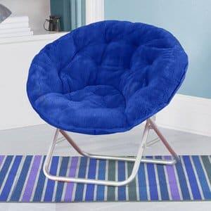 2. Mainstays Blue Plush Saucer Chair