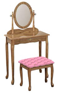 4. The Furniture Cove New Oak Finish Queen Anne Make Up Vanity Table