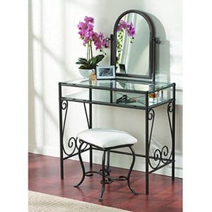 12. Linon Clarisse Metal Vanity Set