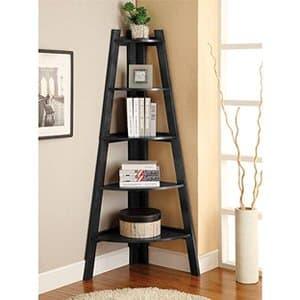 15. Furniture of America Lawler 5 Shelf Corner Bookcase