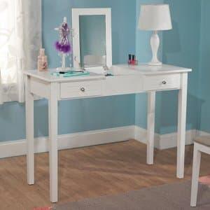 7. Aubrey White Charming Vanity Desk and Mirror