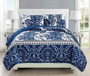 9. MK Home Floral White Navy Blue Daybed Bedding Set