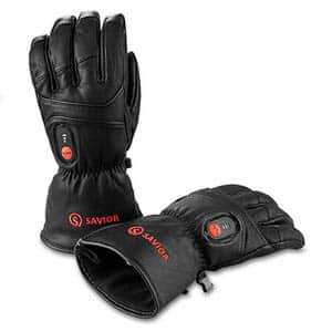 3. Savior Heated Full Leather Skiing Gloves for Men and Women
