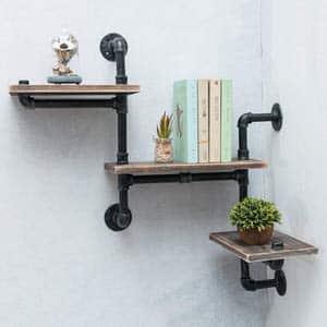 14. MBQQ Industrial Bookshelf Pipe Shelves 3 Tiers
