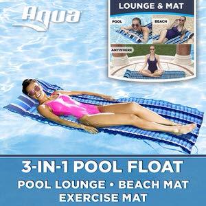 9. Aqua 3-In-1 Roll-Up Pool Float Padded Mat
