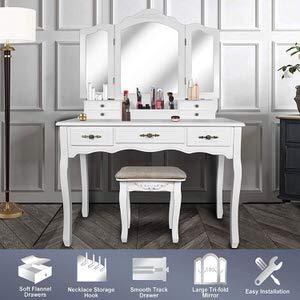 2. ENSTVER Vanity Beauty Makeup Dress Table