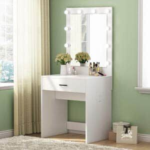 3. Tribesigns Makeup Vanity Dressing Table and Lighted Mirror
