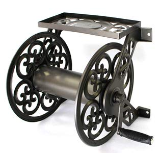 7. Liberty Garden 708 Steel Decorative Wall Mount Garden Hose Reel