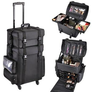 8. AW 2in1 Black Oxford Soft Sided Rolling Makeup Case