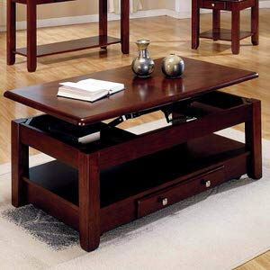 2. Lift-top table Coffee Table in Cherry Finish w/ Storage Drawers & Bottom Shelf