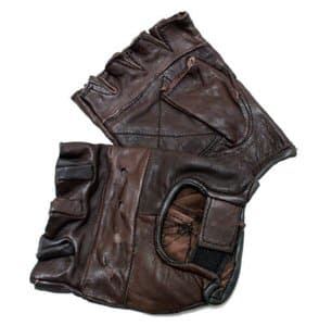8. New Brown Leather Fingerless Gloves by MATACORE