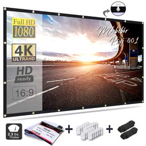 3. Mdbebbr 120 inch Projection Screen 16:9 HD Foldable Screen
