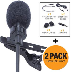 6. Solid Lavalier Lapel Microphone 2-Pack Complete Set