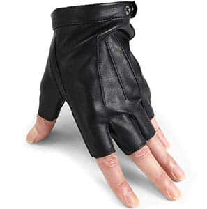 12. DAAONE Breathable Leather Fingerless Gloves