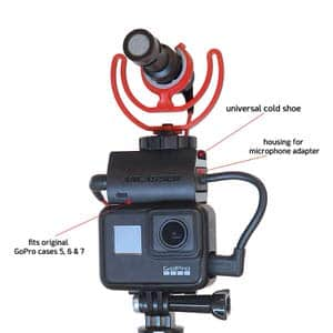 8. ANLASSER Microphone Mount for GoPro w/ Housing for Mic Adapter