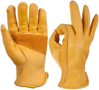 3. OZERO Flex Grip Leather Work Gloves (Gold)