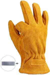 7. OZERO Cowhide Leather Work Gloves with Detachable Magnet