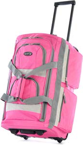 2. Olympia 22 Inch Rolling Duffel bag in Hot Pink