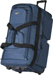 4. Olympia Luggage Rolling Duffel Bag in Navy Blue color