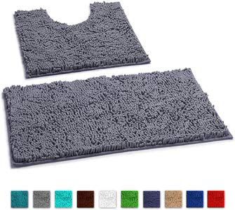 12. LuxUrux Super thick Chenille Luxury Bathroom Rug