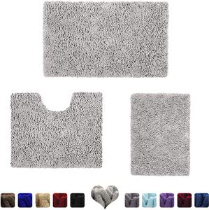 2. Homeideas 3 piece Bathroom Rugs Set