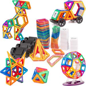 12. Cossy 115 PCs Magnetic Stick and Stack Magnet Tiles Building Block