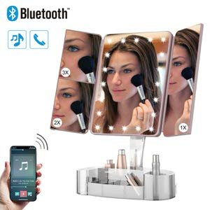 10. Hansong Makeup Mirror with Lights and Bluetooth