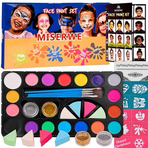 8. Miserwe 18 Colors Face Paint Kit