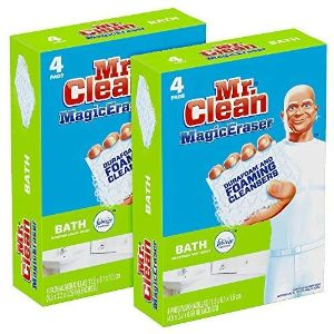 3. Mr Clean Magic Eraser Bath Scrubber, 4Count (Pack of 2)