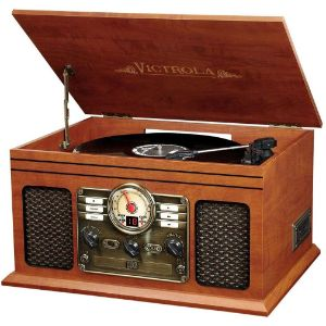 2. Victrola Bluetooth Turntable Entertainment Center