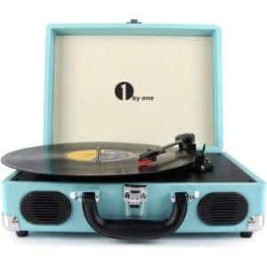 5. 1byone Belt Driven 3 Speed Portable Stereo Turntable