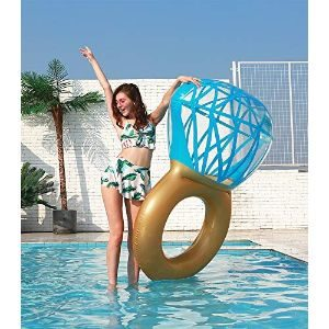 12. Zoostliss Inflatable Diamond Ring Pool Float