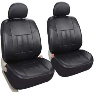 6. Leader Accessories Black Leather Seat Covers