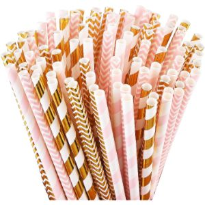 1. ALINK Pink and Gold Paper Straws