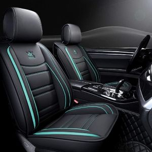 12. OUTOS Black and White Leather Seat Cover