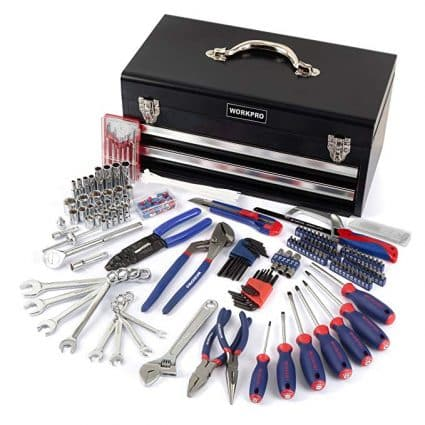 WORKPRO 229-Piece Tool Set - General Household Tool Kit with 2 Drawers Metal Box:
