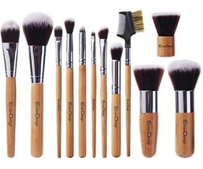 EmaxDesign 12 Pieces Makeup Brush Set Professional Bamboo Handle: