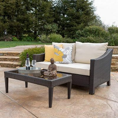Aspen Outdoor Wicker Loveseat & Table w/Water Resistant Fabric Cushions (Brown/Beige):