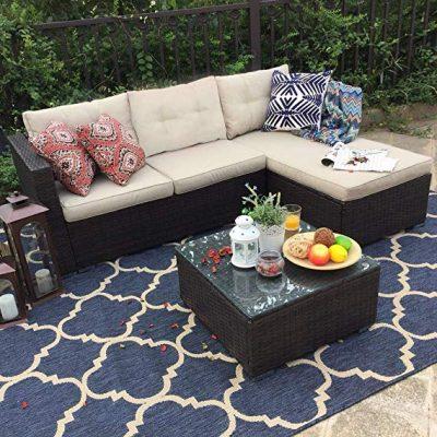PHI VILLA 3-Piece Outdoor Rattan Sectional Sofa- Patio Wicker Furniture Set, Beige:
