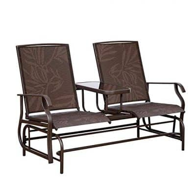 PatioPost Outdoor 2 Person Patio Mesh Fabric Loveseat Glider Chair w/Center Table,JA: