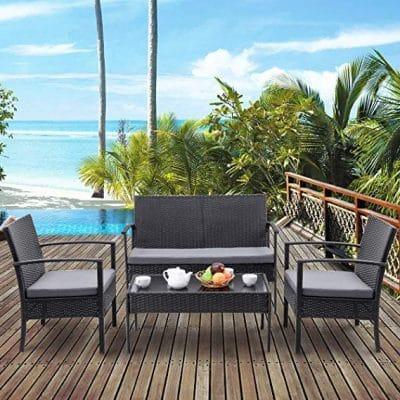 3. TANGKULA 4 Piece Outdoor Furniture Set Patio Garden Pool Lawn Rattan Wicker Loveseat Sofa: