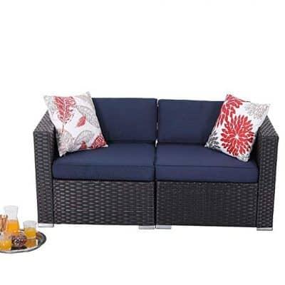 PHI VILLA Outdoor Sectional Furniture- All Weather Patio Rattan Sofa Set (2-Piece 2, Blue):