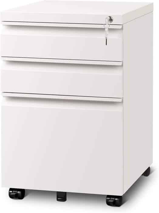 Milky White 3-drawer Lateral File Cabinet