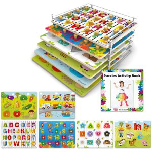 14. TOYVENTIVE Wooden Peg Puzzles for Toddlers