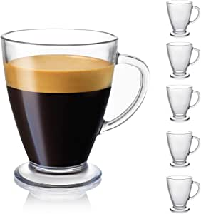 JoyJolt Declan Clear Glass Coffee Mug - 16 Oz with Handles for Hot drinks