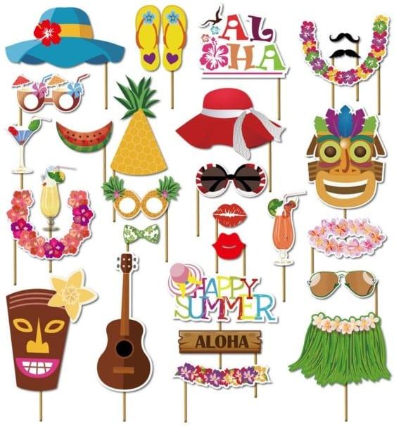 KINGYAO Photo Booth Props Kit – Hawaiian, Aloha, or Beach Party Supplies – 45pcs
