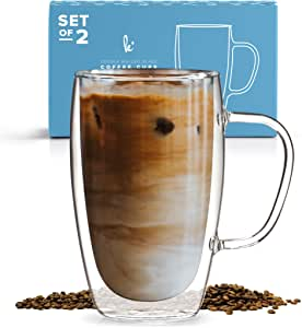 Kitchable Coffee Double Wall Insulated Glass Mugs with Handle, Set of 2