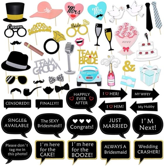 Konsait Wedding Photo Booth Props – 52 Counts