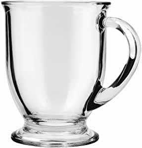Anchor Hocking Clear 16-oz Café Glass Coffee Mugs, Set of 6